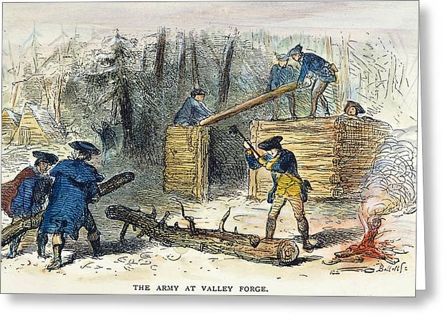 Log Cabins Greeting Cards - Valley Forge: Huts, 1777 Greeting Card by Granger