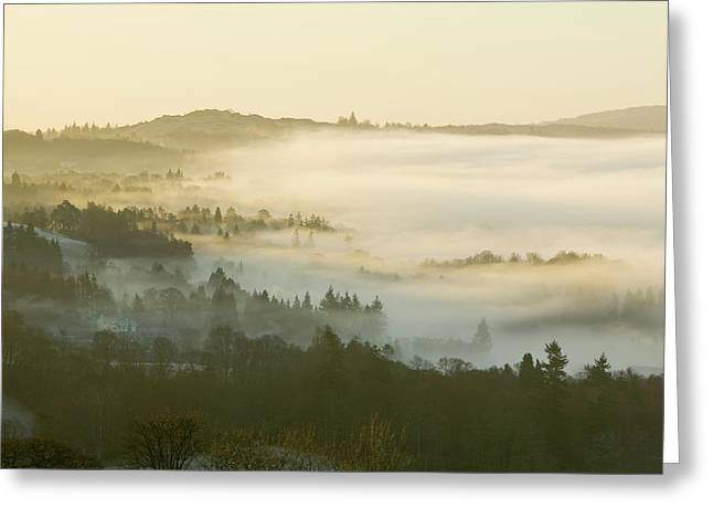Valley Mist Over Windermere At Dawn Greeting Card by Ashley Cooper