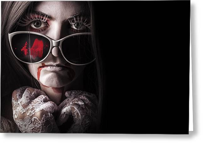 Evening Gloves Greeting Cards - Vampire in the dark. Horror fashion portrait Greeting Card by Ryan Jorgensen
