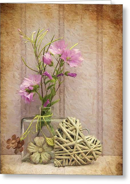 Van Gogh Style Digital Painting Beautiful Flower In Vase With Heart Still Life Love Concept Greeting Card by Matthew Gibson
