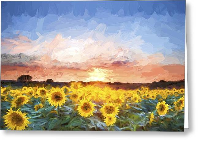 Essential Greeting Cards - Van Gogh style digital painting Sunflower Summer Sunset landscape with blue skies Greeting Card by Matthew Gibson