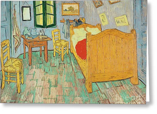 Arles Paintings Greeting Cards - Van Goghs Bedroom at Arles Greeting Card by Vincent Van Gogh
