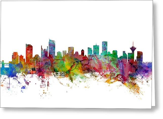 Vancouver Canada Skyline Greeting Card by Michael Tompsett