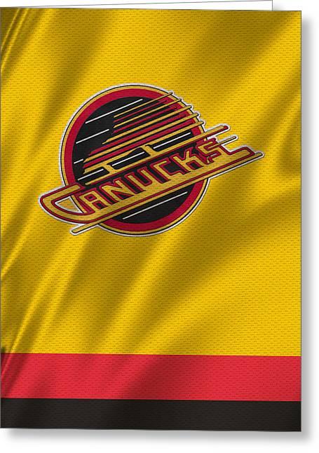 Skates Greeting Cards - Vancouver Canucks Uniform Greeting Card by Joe Hamilton