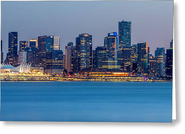 Burrard Inlet Greeting Cards - Vancouver city panorama Greeting Card by Pierre Leclerc Photography