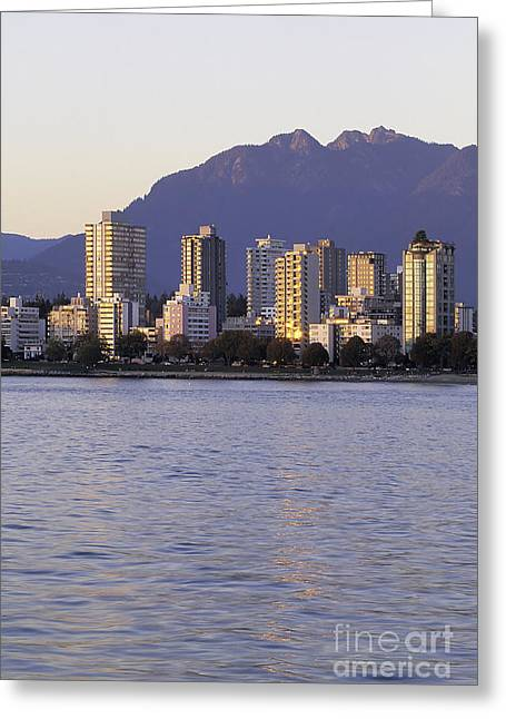 Vancouver Night Scene Greeting Cards - Vancouver downtown Canada Greeting Card by Ryan Fox