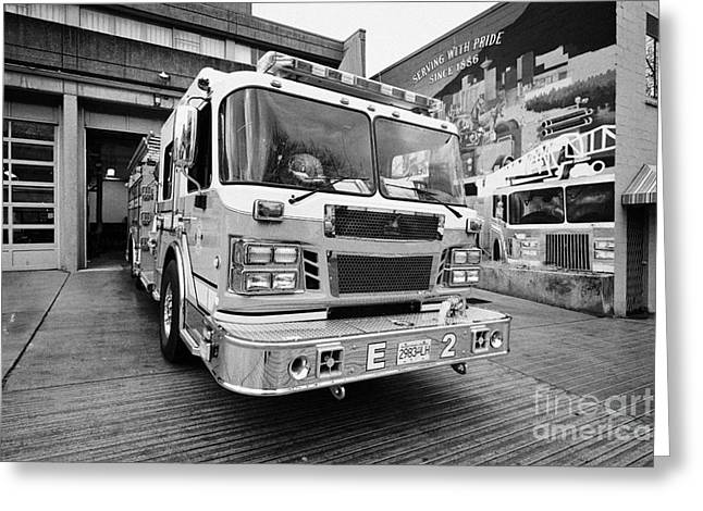 Vancouver fire rescue services truck engine outside hall 2 in downtown eastside BC Canada Greeting Card by Joe Fox