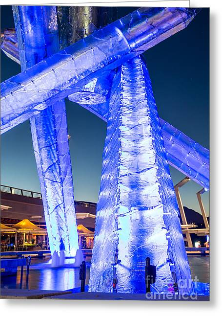 Vancouver At Night Greeting Cards - Vancouver Olympic Cauldron - by Sabine Edrissi Greeting Card by Sabine Edrissi