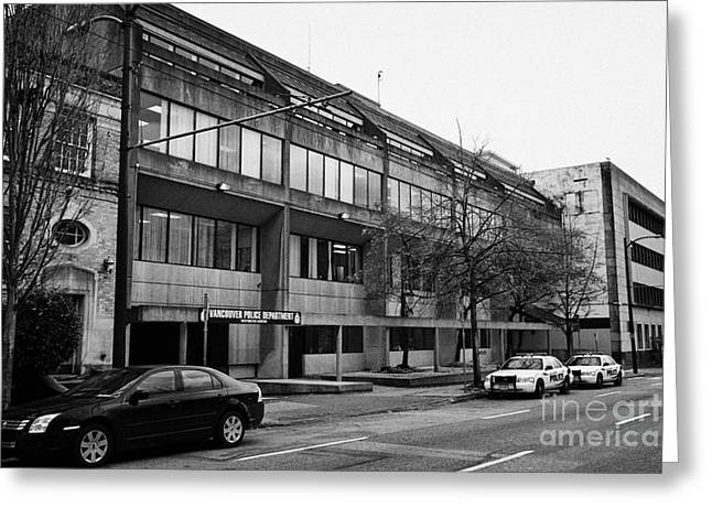 North Vancouver Greeting Cards - Vancouver police department station 236 cordova street BC Canada Greeting Card by Joe Fox