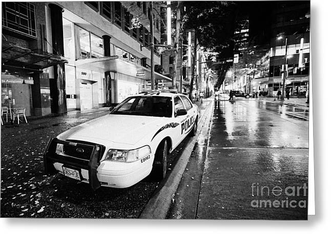 North Vancouver Greeting Cards - Vancouver police squad patrol car vehicle BC Canada Greeting Card by Joe Fox