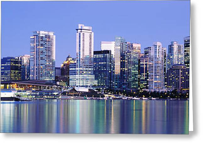 Vancouver Skyline Panorama Greeting Cards - Vancouver Skyline At Night, British Greeting Card by Panoramic Images