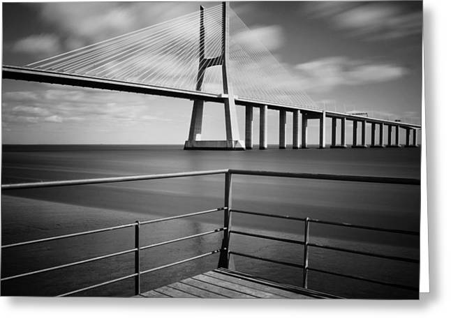 Lisbon Greeting Cards - Vasco da Gama Bridge Greeting Card by Nina Papiorek