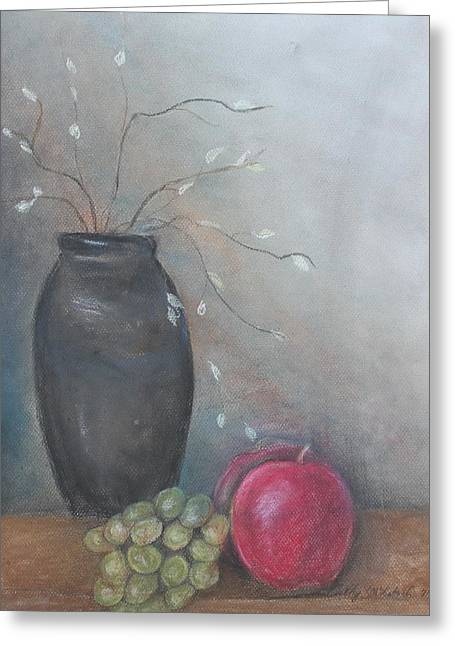 Serene Pastels Greeting Cards - Vase and Fruit Greeting Card by Cathy Lindsey