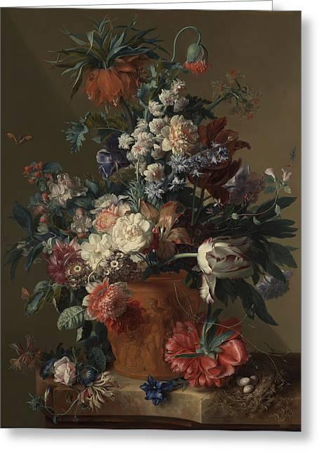 Jan Paintings Greeting Cards - Vase of Flowers Greeting Card by Jan van Huysum