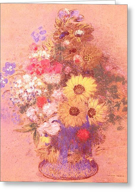 Flower Still Life Prints Greeting Cards - Vase of Flowers  Greeting Card by Odilon Redon
