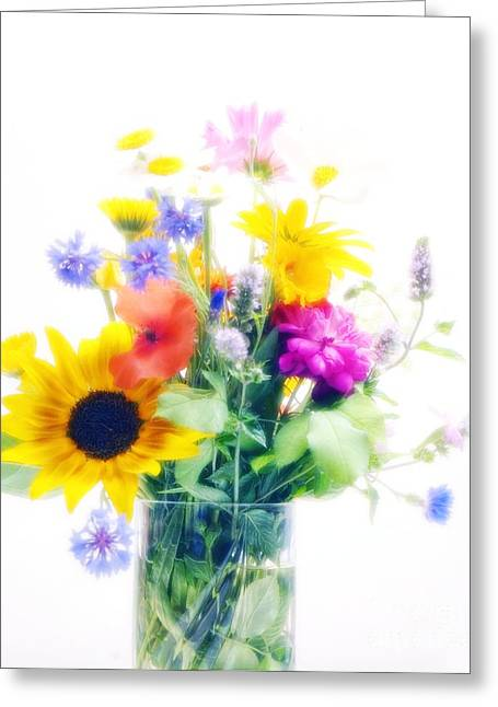 Glass Vase Greeting Cards - Vase Of Summer Flowers Greeting Card by Maria Mosolova