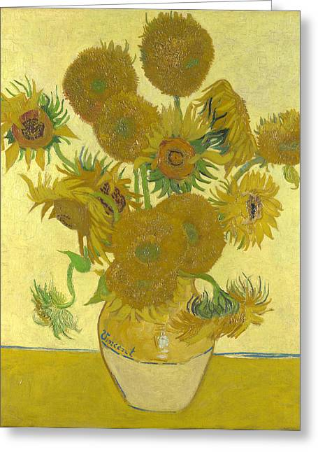 Old Masters Greeting Cards - Vase with Fifteen Sunflowers Greeting Card by Celestial Images