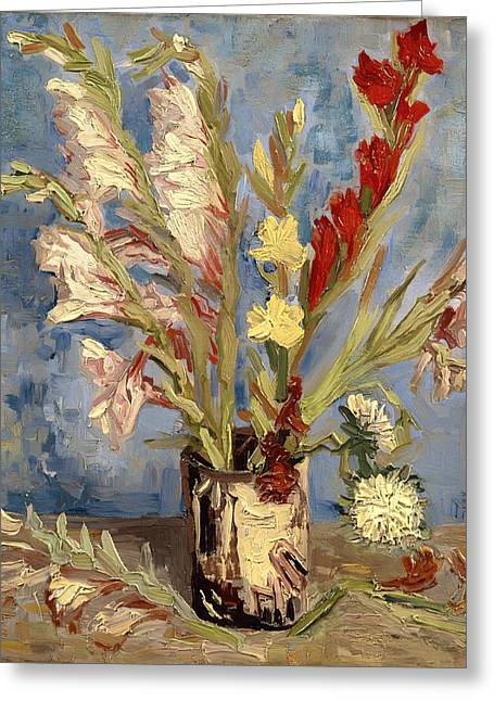 Aster Paintings Greeting Cards - Vase with Gladioli and China Asters Greeting Card by Vincent van Gogh