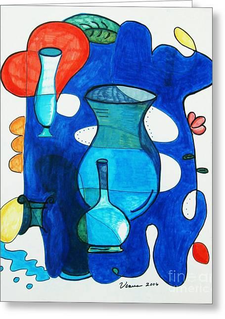 Xxi Art Greeting Cards - Vases Greeting Card by Venus