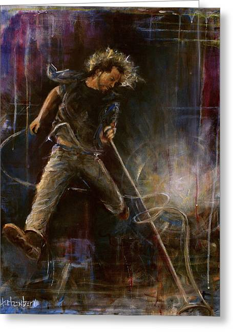 Pearl Jam Greeting Cards - Vedder Greeting Card by Josh Hertzenberg