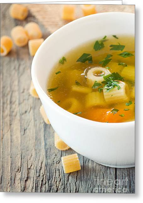 Wooden Bowl Greeting Cards - Vegetable soup with pasta Greeting Card by Mythja  Photography