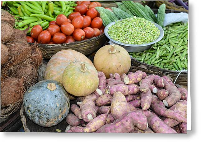 Green Beans Greeting Cards - Vegetables sold on the street in India Greeting Card by Brandon Bourdages