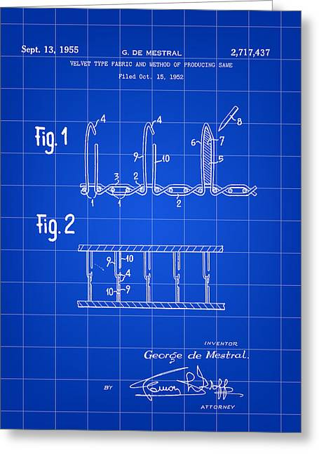 Velcro Patent 1952 - Blue Greeting Card by Stephen Younts