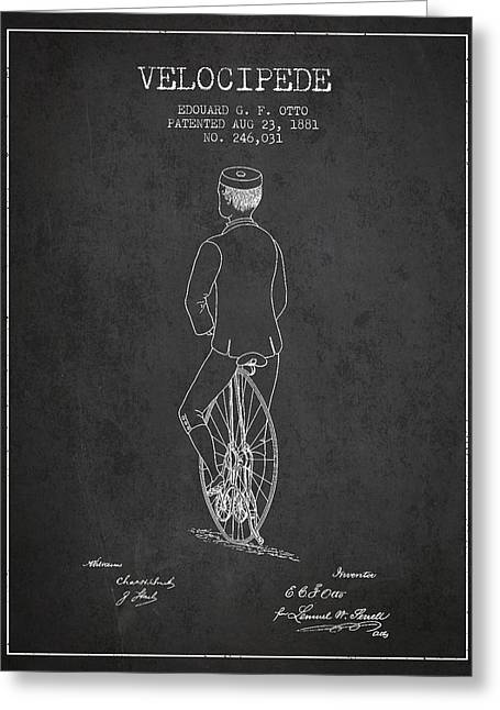 Vintage Bicycle Greeting Cards - Velocipede Patent Drawing from 1881 - Dark Greeting Card by Aged Pixel