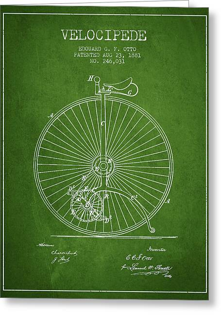 Velocipede Patent Drawing From 1881 - Green Greeting Card by Aged Pixel
