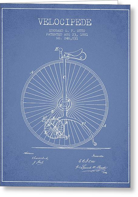 Vintage Bicycle Greeting Cards - Velocipede Patent Drawing from 1881 - Light Blue Greeting Card by Aged Pixel