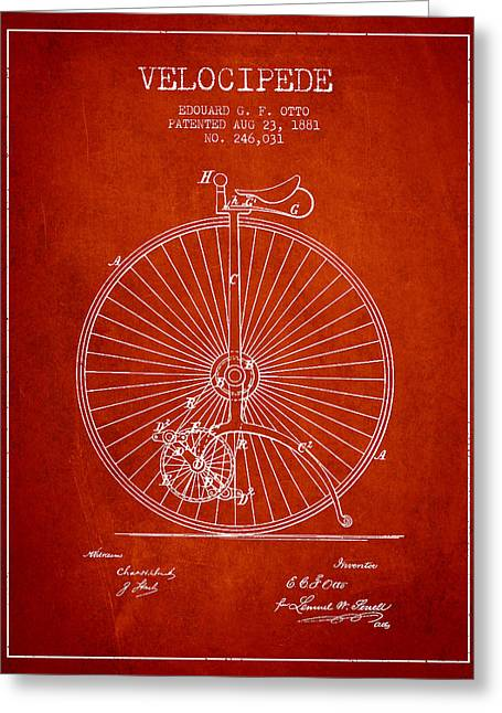 Vintage Bicycle Greeting Cards - Velocipede Patent Drawing from 1881 - Red Greeting Card by Aged Pixel