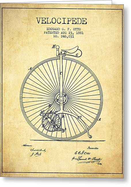 Vintage Bicycle Greeting Cards - Velocipede Patent Drawing from 1881 - Vintage Greeting Card by Aged Pixel