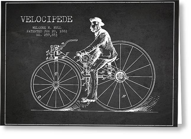 Velocipede Patent Drawing From 1882- Dark Greeting Card by Aged Pixel