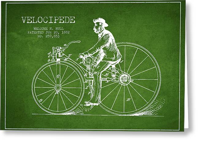 Velocipede Patent Drawing From 1882- Green Greeting Card by Aged Pixel