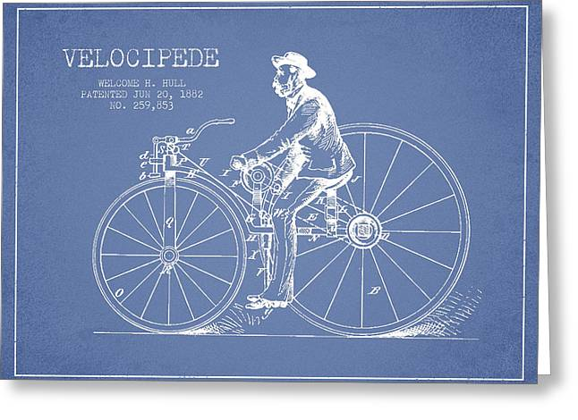 Velocipede Patent Drawing From 1882- Light Blue Greeting Card by Aged Pixel