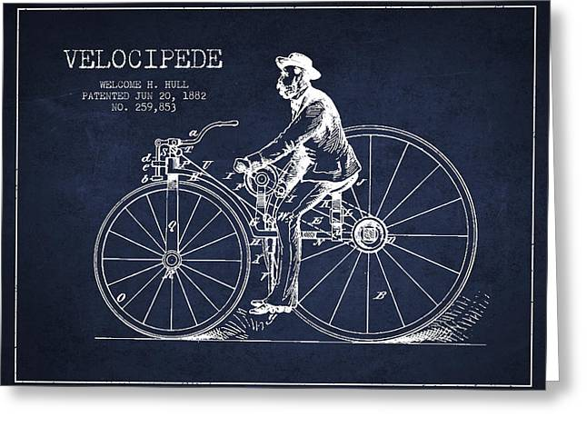 Vintage Bicycle Greeting Cards - Velocipede Patent Drawing from 1882- Navy Blue Greeting Card by Aged Pixel