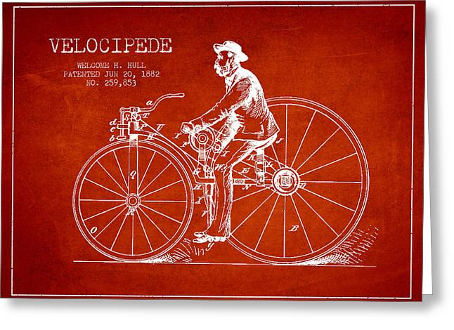 Velocipede Patent Drawing From 1882- Red Greeting Card by Aged Pixel