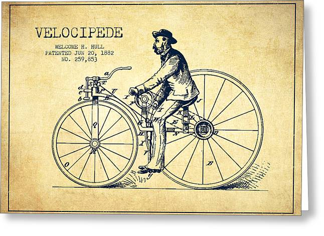 Velocipede Patent Drawing From 1882- Vintage Greeting Card by Aged Pixel