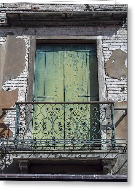 Venetian Balcony Greeting Cards - Venetian door. Greeting Card by Fernando Barozza