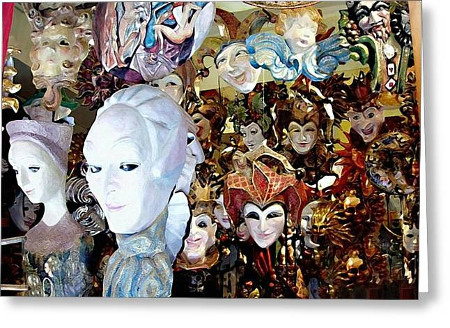 Jester Greeting Cards - Venetian Masks 2 Greeting Card by Ellen Henneke