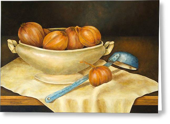 Warm Tones Greeting Cards - Venetian Table Greeting Card by Pamela Allegretto