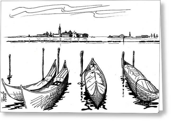 Wine Scene Greeting Cards - Venice Greeting Card by Andooga Design