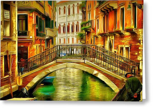 Gondolier Digital Art Greeting Cards - Venice Bridges 2 Greeting Card by Yury Malkov