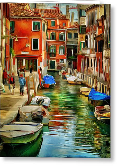 Gondolier Digital Art Greeting Cards - Venice Canals 15 Greeting Card by Yury Malkov