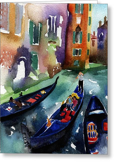 Gondolier Greeting Cards - Venice Gondolas Greeting Card by Lydia Irving