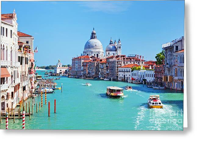 Accademia Greeting Cards - Venice Italy Grand Canal and Basilica Santa Maria della Salute Greeting Card by Michal Bednarek