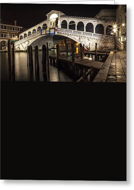 Night Lamp Greeting Cards - VENICE Rialto Bridge at Night  Greeting Card by Melanie Viola