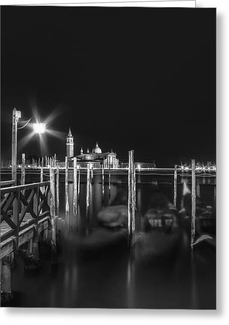 Night Lamp Greeting Cards - VENICE San Giorgio Maggiore at Night black and white Greeting Card by Melanie Viola