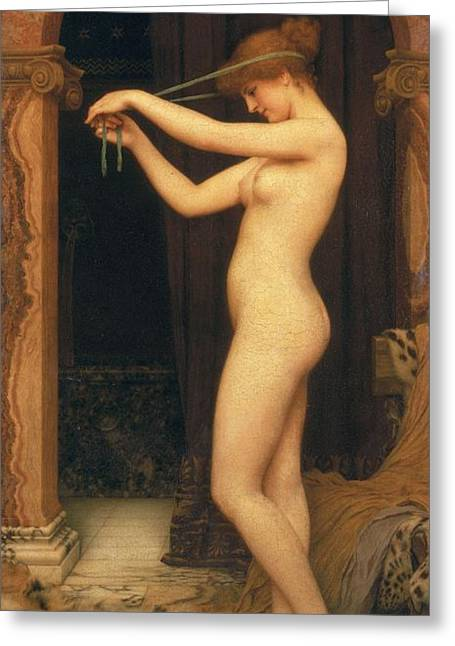 Leopard Skin Greeting Cards - Venus Binding Her Hair Greeting Card by John William Godward