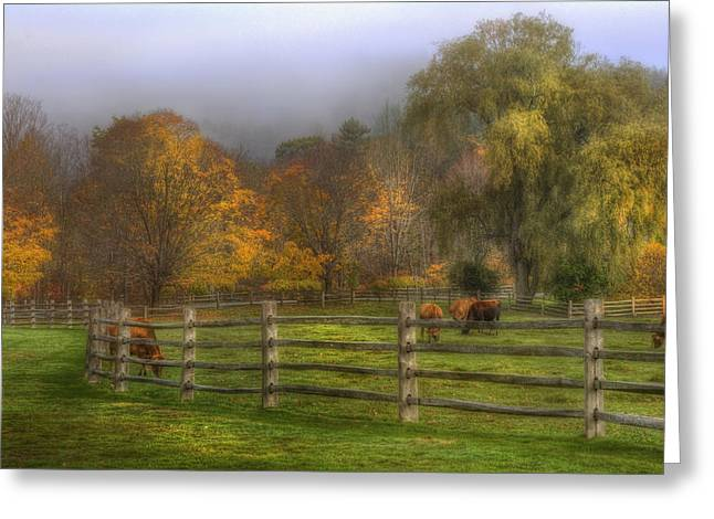 Fall Scenes Greeting Cards - Vermont Farm in Autumn Greeting Card by Joann Vitali